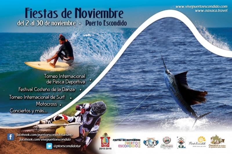 Cartel Fiestas de Noviembre Puerto Escondido 2012