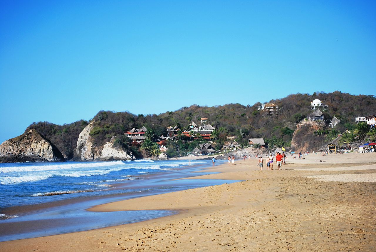 View-Of-Zipolite-Beach-Looking-West-In-Oaxaca-Mexico